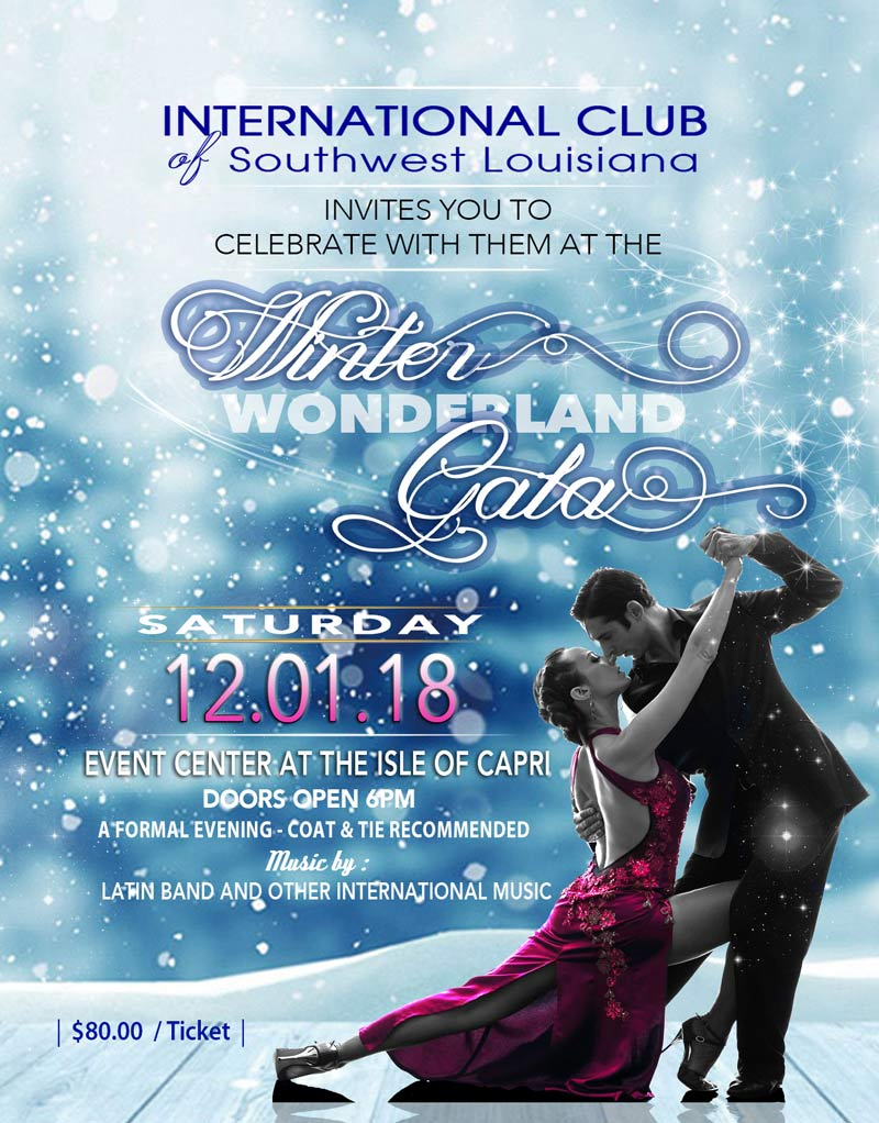 Flyer for Winter Wonderland Gala 2018; couple dancing with blue snowy background.