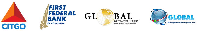 Winter Gala sponsorship logos: Citgo, First Federal Bank, Global Contractors, Global Mgmt LLC